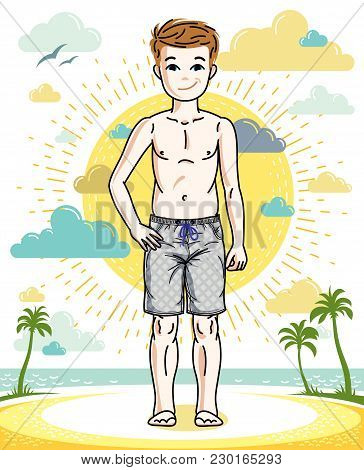 Young Teen Boy Cute Children Standing In Colorful Stylish Beach Shorts. Vector Human Illustration. C