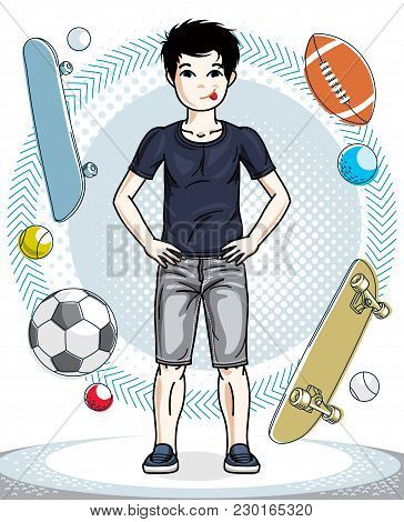 Pretty Child Boy Standing In Stylish Casual Clothes. Vector Beautiful Human Illustration. Childhood