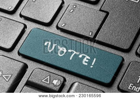 Vote,notebook Pc Keyboard Button Business Push Black