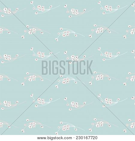 Soft Floral Seamless Pattern With Hand Drawn Doodle Small-scale Flowers. Delicate Romantic Backgroun