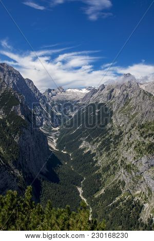 Zugspitze Mountain In The Bavarian Alps In Summer