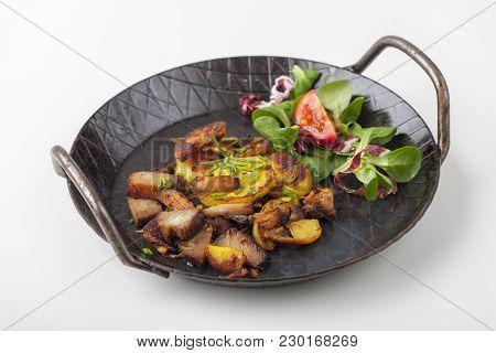 Tyrolean Potato Groestl In A Pan On White