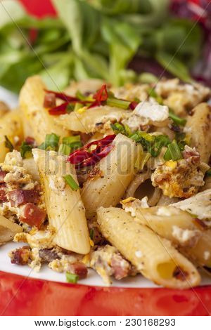 Closeup Of Pasta With Bacon And Eggs