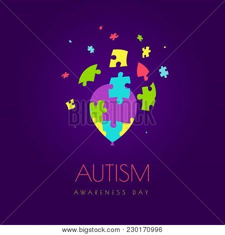 Autism Awareness Day Vector Poster On Purple Background. Jigsaw Balloon With Detaching Puzzle Pieces