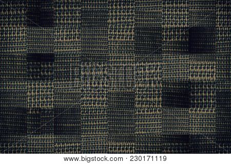 Checked Out Fabric Texture, Textile Background In Neutral Gray Color.