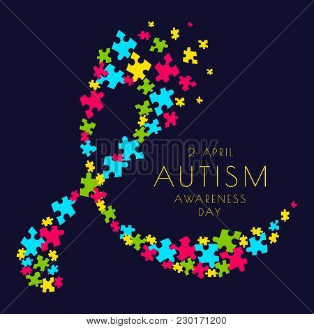 Autism Awareness Poster With A Ribbon Made Of Multicolored Puzzle Pieces On Dark Background. Social