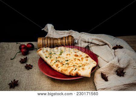 traditional Indian Naan garlic bread
