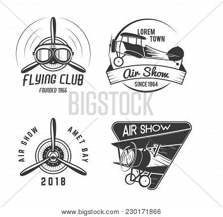 Vintage Hand Drawn Old Fly Stamps. Travel Or Business Airplane Tour Emblems. Biplane Academy Labels.