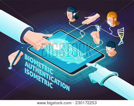Biometric Authentication Methods Isometric Composition Poster With Fingerprint Scanning Signature Ha