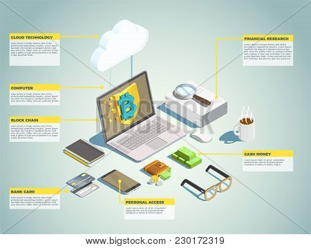 Financial Technology Isometric Layout With Blockchain Bank Card Cash Money Personal Access Decorativ
