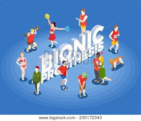 Bionic Prosthetics Isometric Vector Illustration With People Involved In Sports Having Artificial Hi