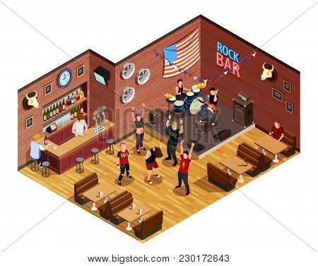 Rock Stars In Bar Isometric Composition With Musicians On Stage, Admirers, Interior Elements Vector