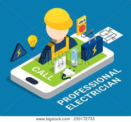 Electricity Isometric Colored Concept With Smartphone And Service On Request By Profession Electrici
