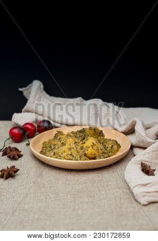 Indian Cuisine of Spinach and Potatoes