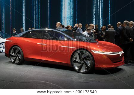 Geneva, Switzerland - March 7, 2018: Volkswagen I.d Vizzion Concept Sedan Electric Car Unveiled At T
