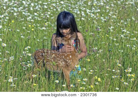 Young Girl With Deer Fawn