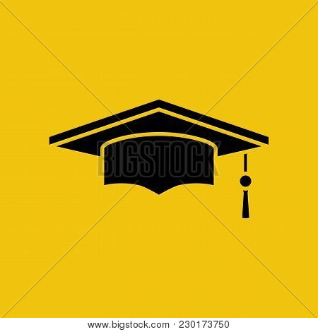 Graduation Cap Black Silhouette Isolated On Yellow Background. Academic Cap Pictogram. Vector Illust