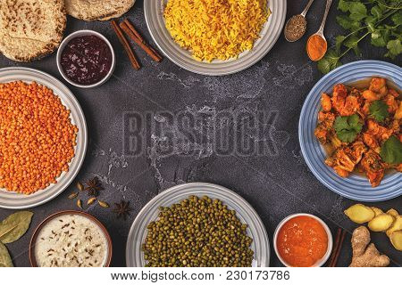Traditional Indian Curry With Rice, Lentils And Mung Beans. Top View, Copy Space.