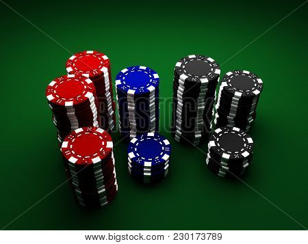 Casino Chips On Green Cloth Background 3d