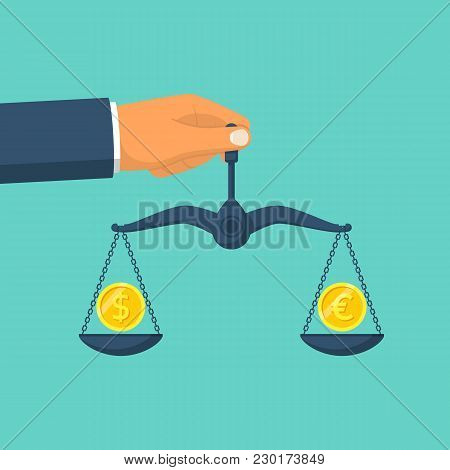 Dollar And Euro On Scales In Hands Man. Coin On Balance. Vector Illustration Flat Design. Isolated O