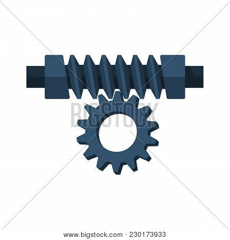 Worm Gear Vector Illustration Flat Design. Pair Of Gears Isolated On White Background.