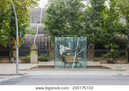 Barcelona,spain-august 31,2015:sculpture Tribute To Picasso By Antoni Tapies,close To Park Ciutadell