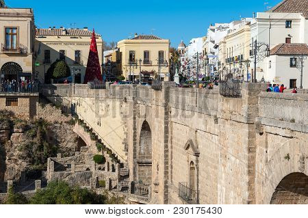 Ronda, Spain - December 2017: Puente Nuevo Bridge And Architecture Of Old Town, One Of The Famous Wh