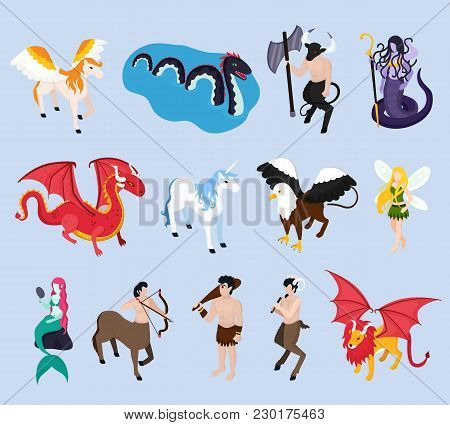 Mythical Creatures Isometric Icons With Unicorn, Mermaid And Fairy, Pegasus And Winged Lion, Griffin
