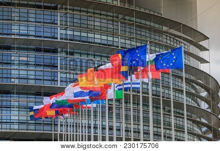 Strasbourg, France - December 28, 2017: Set Of European Flags In Front Of The European Parliament On