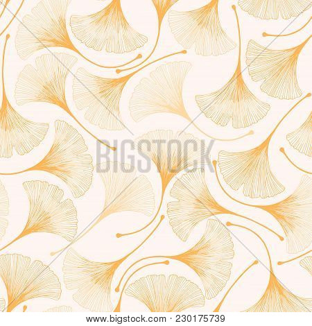 Seamless Floral Pattern With Ginkgo Biloba Leaves. Vector Elegant Background