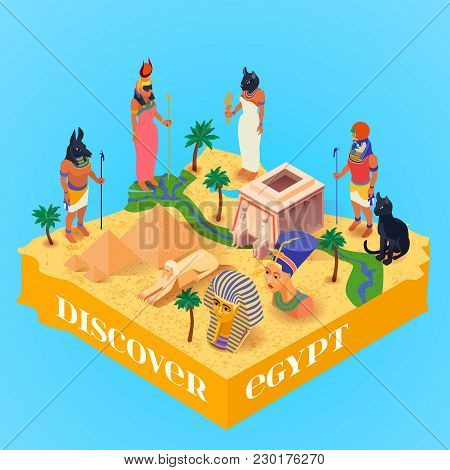 Discover Egypt Isometric Poster With Ancient Egyptian Gods And Pyramids On Blue Background 3d Vector