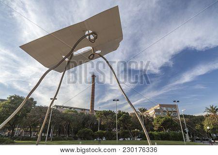 Barcelona,spain-october 23,2015: Monumental Sculpture, David Y Goliat, By Antoni Llena, Next To Olym