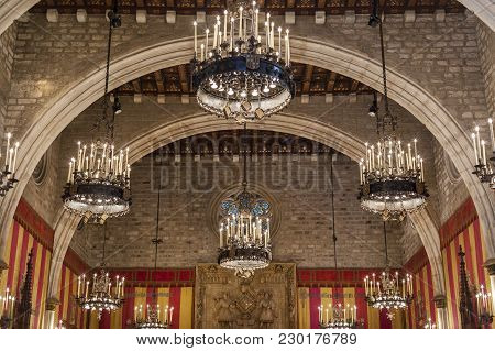Barcelona,spain-june 4,2015: Interior Of City Hall, Ajuntament, Salo De Cent, Gothic Style Space, Go