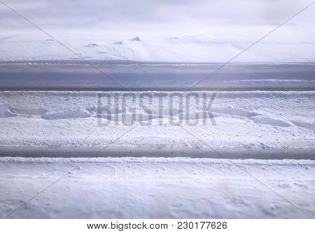Winter Railway Track And Human Footprints Background Hd