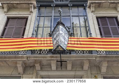 Barcelona,spain-september 20,2015:library Arus, Biblioteca, Facade Building With Catalan Flag. Study