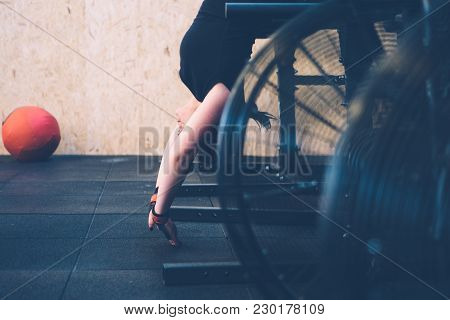 Young Athlete Woman Doing Ghd - Gluteus Ham Developer - Upside Down On A Fitness Workout At The Box