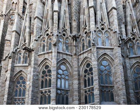 Barcelona,spain-december 30,2015: Architecture Detail Facade Temple Sagrada Familia By Antoni Gaudi,