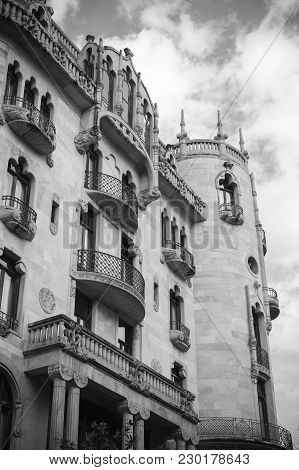Barcelona,spain-february 3,2015: Architecture, Modernist Style Building, House, Casa Fuster, Hotel,