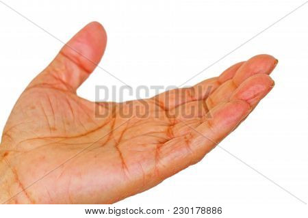 Old Man Left Hand Standing With Palm Up, Side View