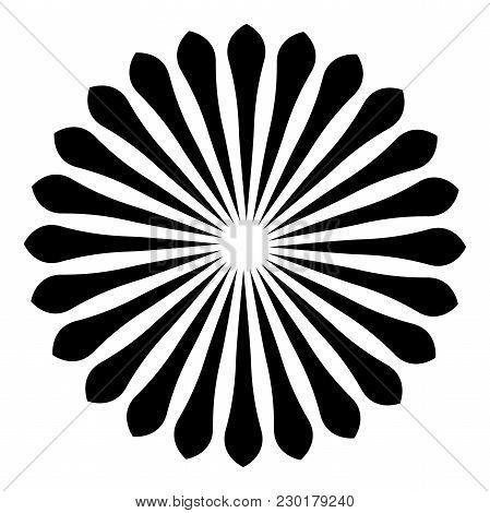 Rays, beams element. Sunburst, starburst shape on white. Radiating, radial, merging lines. Abstract circular geometric shape. poster