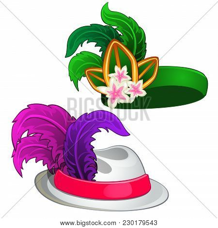 Two Vintage Hats With Feathers Isolated On White Background. Vector Cartoon Close-up Illustration.