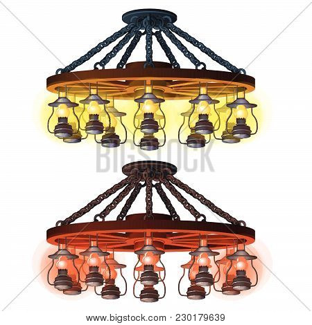 Bar Pendant Chandelier In The Style Of A Western. Vector.