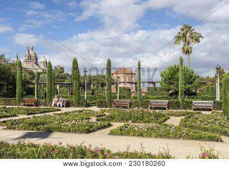 Barcelona,spain-september 20,2015: Public Gardens, Jardins Teatre Grec, Designed By Jean-claude Fore