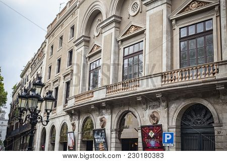 Barcelona,spain-august 31,2015: Facade Of  Theater,teatre Principal, Or Teatre De La Santa Creu. It