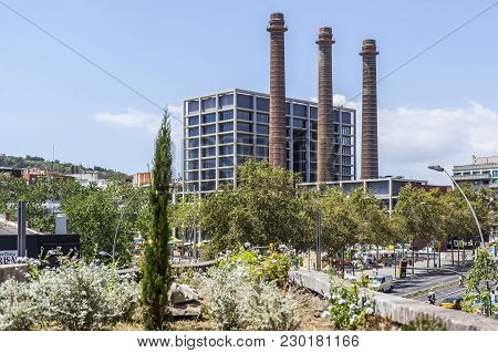 Barcelona,spain-july 16,2016: Street View, Paralelo Avenue, With Three Chimney, Barcelona.
