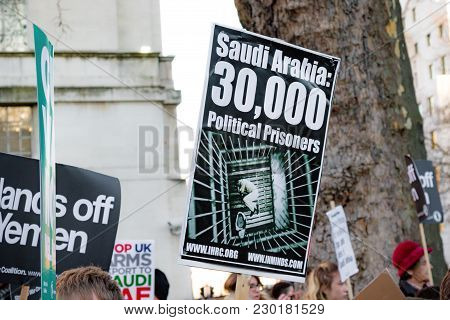 Protesters Gather Outside Downing Street, London, United Kingdom