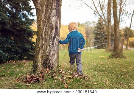 Cute Adorable Little Red-haired Caucasian Boy Playing In Autumn Fall Park Outside. Child Kid Turning