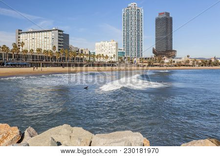 Barcelona,spain-november 24,2015: Front Maritime, Beaches In Port Olimpic, Olympic Port And Barcelon