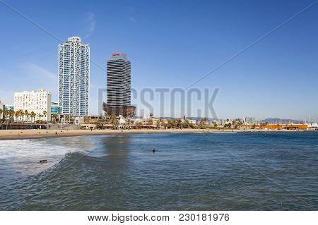 Barcelona,spain-november 24,2015: Front Maritime, Beaches In Port Olimpic, Olympic Port.