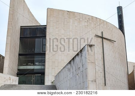 Barcelona,spain-february 2,2016: Architecture,religious Building,center,centre Abraham,poble Nou Qua